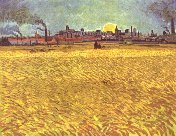 Van Gogh, Summer Evening, Wheatfield With Setting Sun, 1888