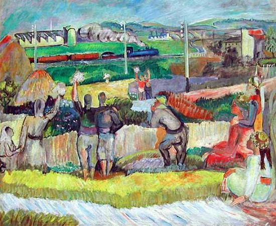 bedri rahmi eyuboglu - ilk gecen treni seyreden koyluler