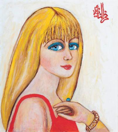 fahrelnisa zeid - kirmizili kadin portresi