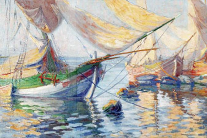 nazmi ziya - salacak sahilinde yelkenli mavnalar