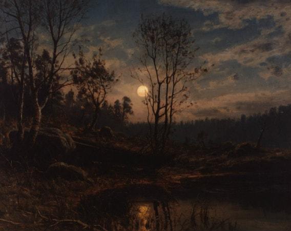 Amaldus Clarin Nielsen, Maaneopgang ved Dybvandet (Mandal), 1895