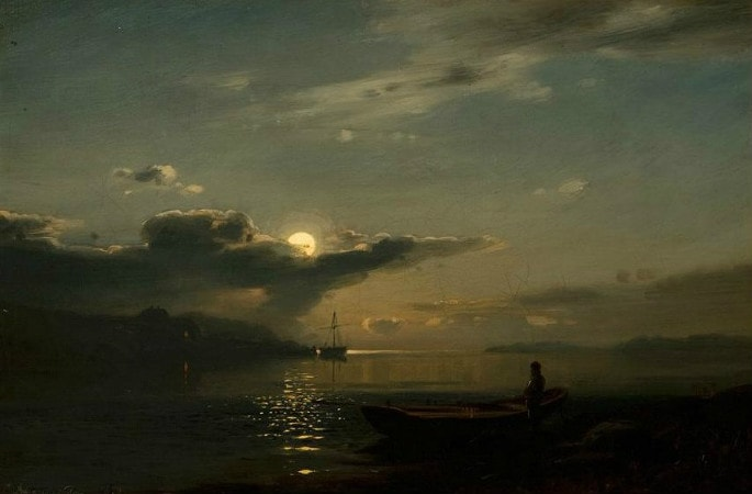 Amaldus Clarin Nielsen, Moonlight Over Bankefjord, 1866