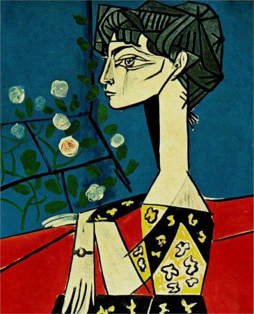 Pablo Picasso - Portrait of Jacqueline Roque With Flowers