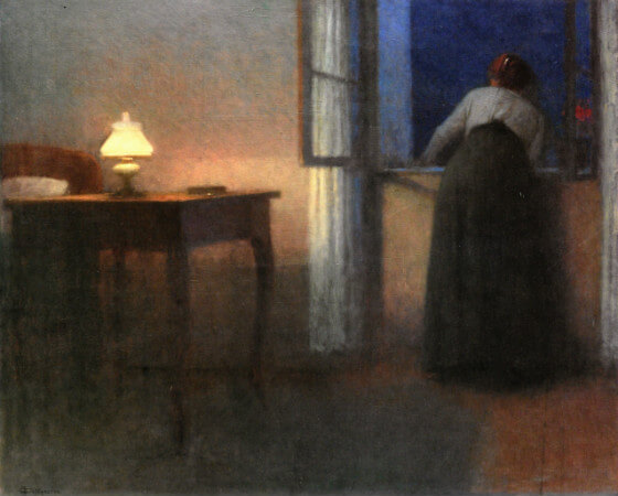 Jakub Schikaneder, Evening Interior, 1915