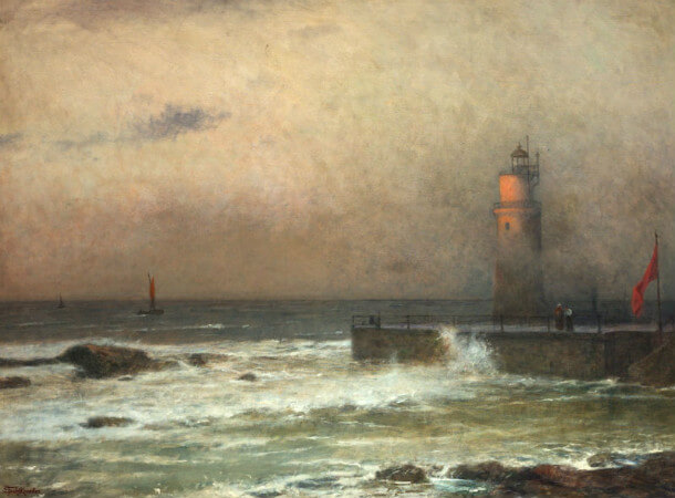 Jakub Schikaneder - Seascape with Lighthouse, 1924