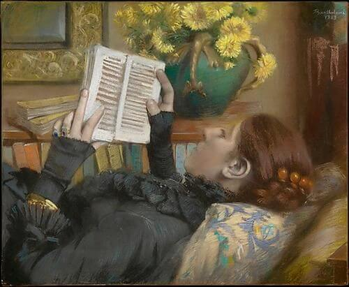 Albert Bartholome, The Artist's Wife (Perie) Reading, 1883