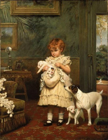 Charles Burton Barber, Girl With Dogs, 1893