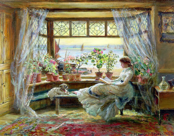 Charles James Lewis, Reading by the Window, 1880