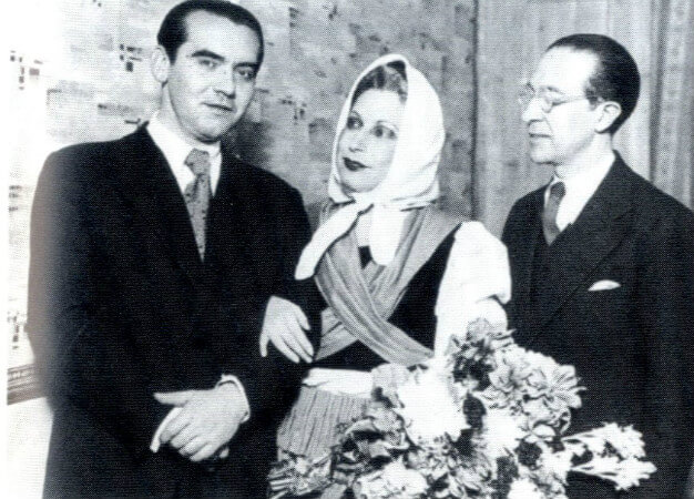Federico Lorca, Margarita Xirgu, Cipriano Rivas Cherif, 1935