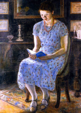 Frederick C. Frieseke, Blue Girl Reading, 1935