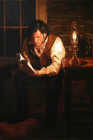 Jeffrey Hein, Man Reading by Lamplight