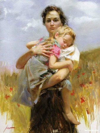 Pino Daeni, Mother and Child