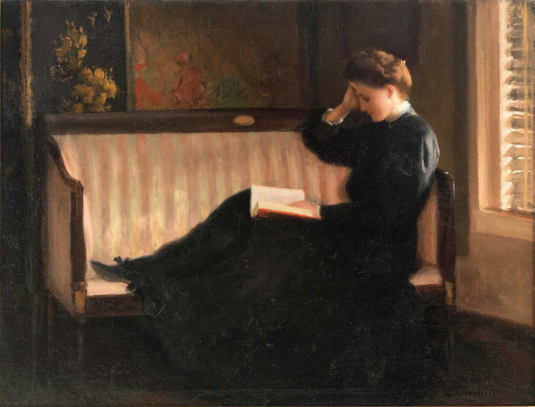 William W. Churchill, Woman Reading By Candlelight, 1908