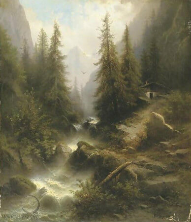 Albert Rieger, Waterfall Cascading Amongst Pine Trees in The Alps