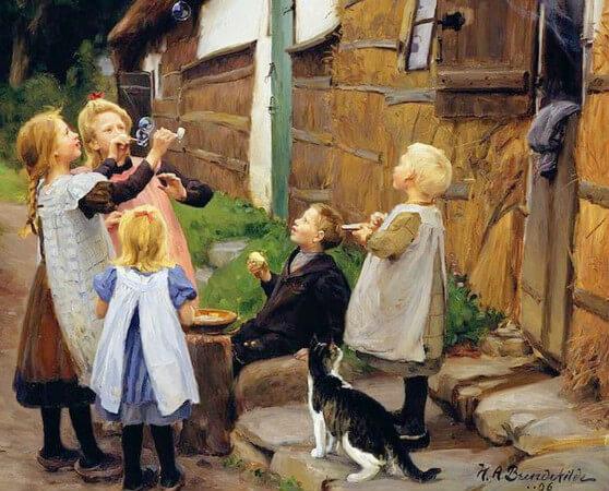 Hans Andersen Brendekilde, Blowing Bubbles