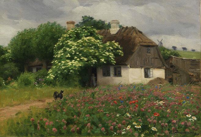 Hans Andersen Brendekilde, Farmhouse With Meadow Flowers