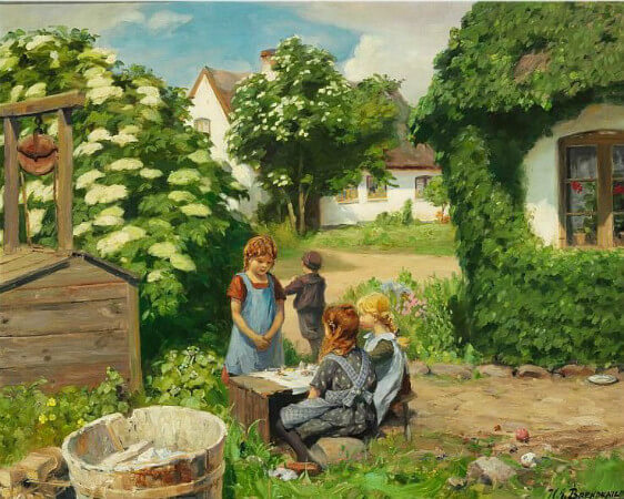 Hans Andersen Brendekilde, Little Girls Having Tea Party