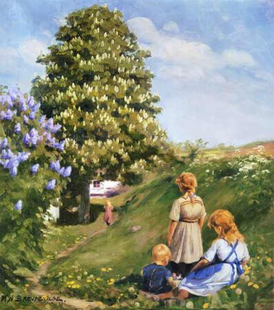 Hans Andersen Brendekilde, Playing Children in Spring Landscape