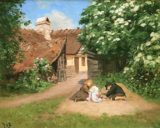 Hans Andersen Brendekilde, Sommertag Mit Drei Spielenden Kindern