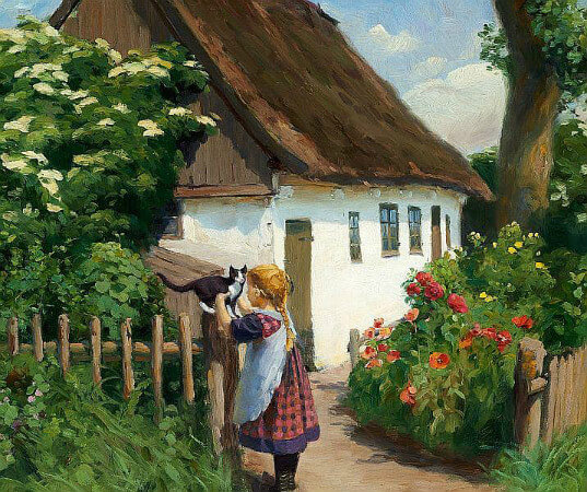 Hans Andersson Brendekilde, Summer Day in The Village With A Little Girl And A Kitten