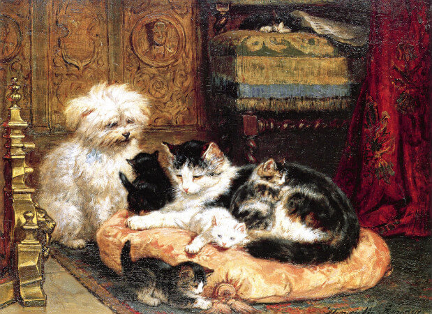 Henriette Ronner-Knip, A Cat With Her Four Kittens With A Friendly Dog