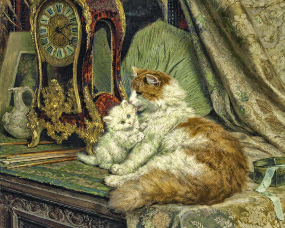 Henriette Ronner-Knip, Cat And A Kitten