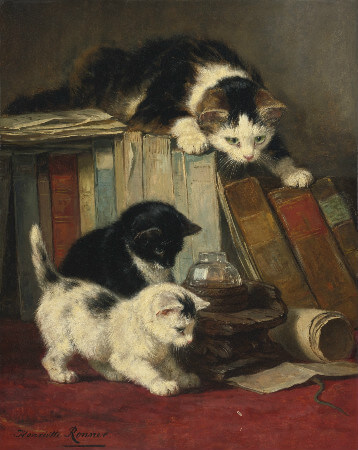 Henriette Ronner-Knip, Cat And Two Kittens