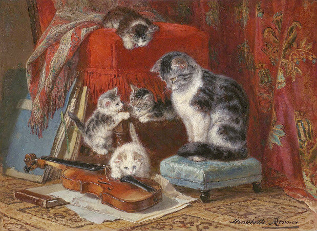 Henriette Ronner-Knip, Cat and Four Kittens