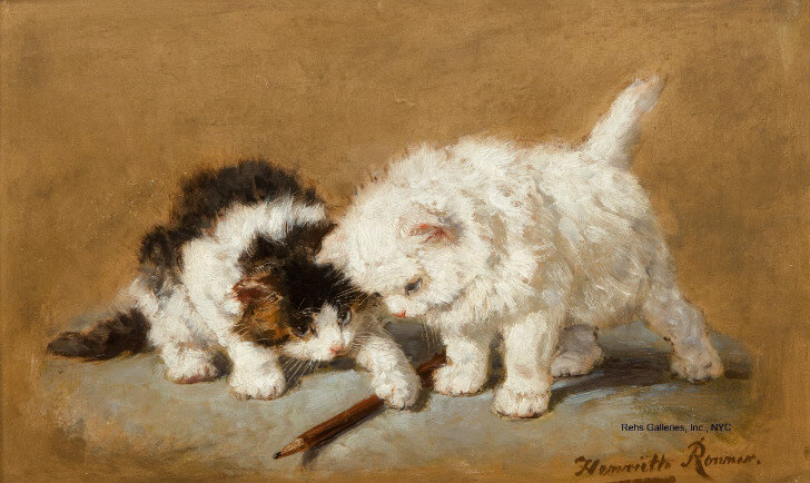 Henriette Ronner-Knip, Cats with a Pencil