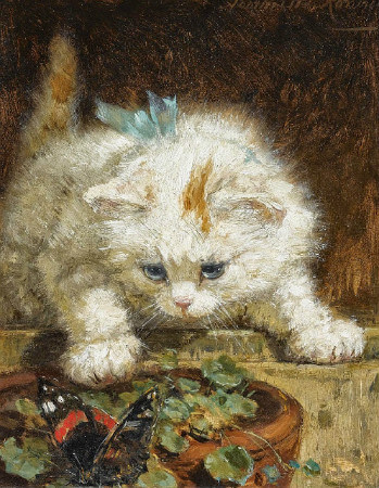 Henriette Ronner-Knip, Kitten With A Butterfly