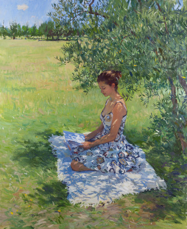 Marc Dalessio, Woman Reading Under An Olive Tree, 2014