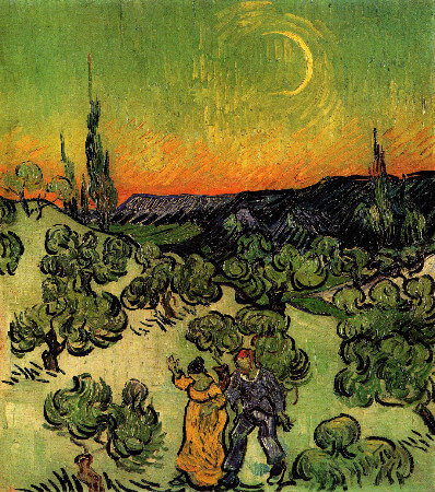 van gogh, Landscape With Couple Walking and Crescent Moon, 1890