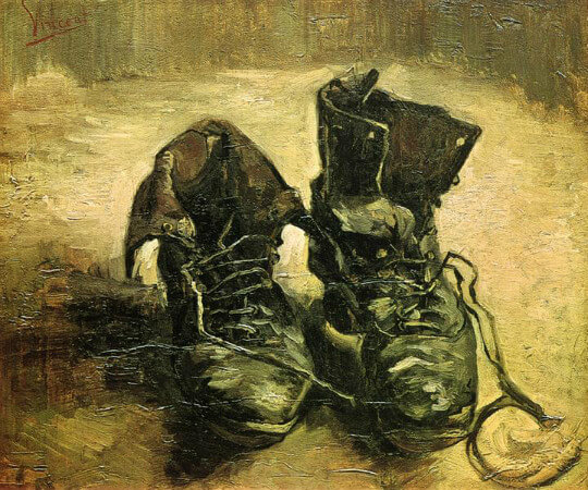 van gogh, a pair of shoes, paris, 1886