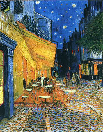 van gogh, cafe terrace, place du forum, arles, 1888