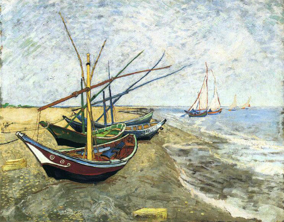 van gogh, fishing boats on the beach at saintes-maries, 1888