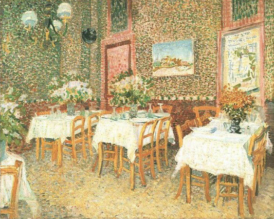 van gogh, interior of a restaurant, 1887