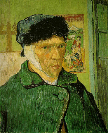 van gogh, self portrait with bandaged ear, 1889