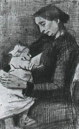 van gogh, sien nursing baby, 1882