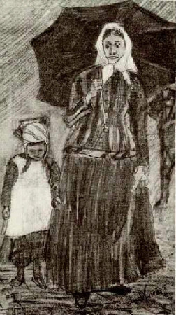 van gogh, sien under umbrella with girl, 1882