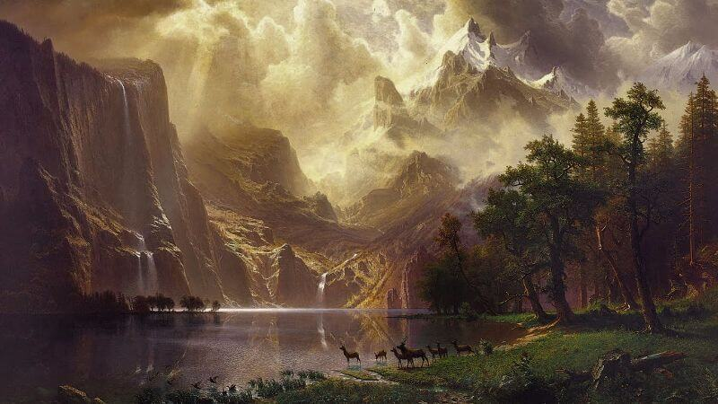 Albert Bierstadt, Among The Sierra Nevada Mountains, 1868