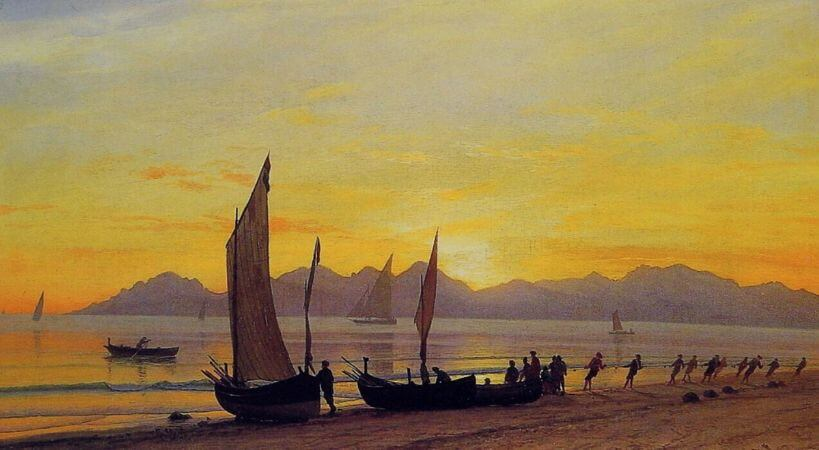 Albert Bierstadt, Boats Ashore At Sunset