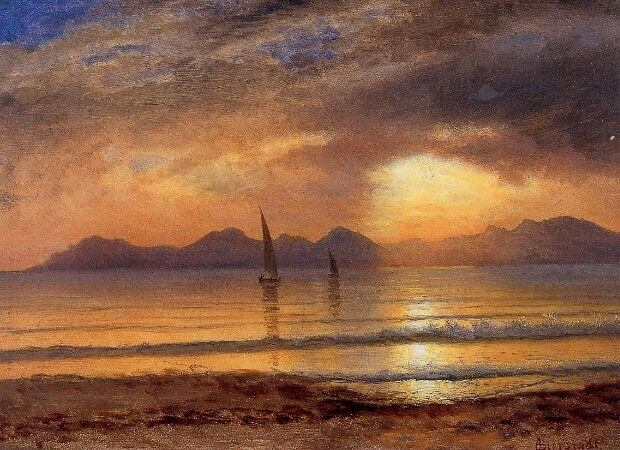 Albert Bierstadt, Sunset Over A Mountain Lake, 1869