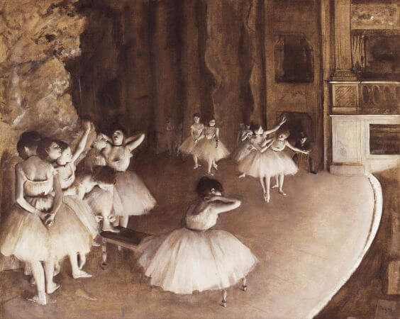 Edgar Degas - 5 Ballet Rehearsal On Stage - 1874