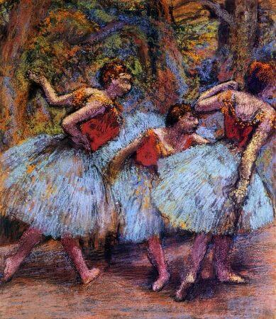 Edgar Degas - Three Dancers, Blue Skirts, Red Blouses, 1903