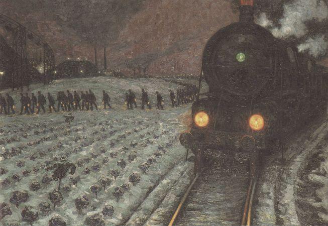 Hans Baluschek, Zur Grube (Zwei Zuge), 1914
