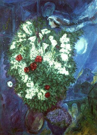 Marc Chagall, Bouquet With Flying Lovers, 1947