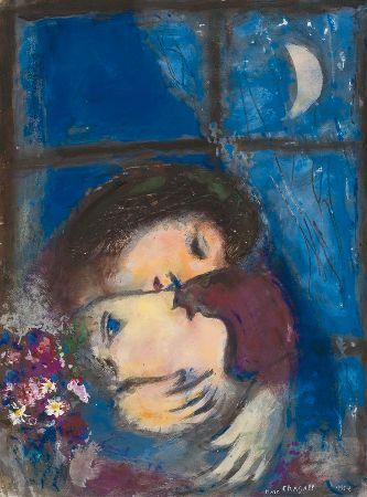 Marc Chagall, Deux Tetes A La Fenetre, 1955