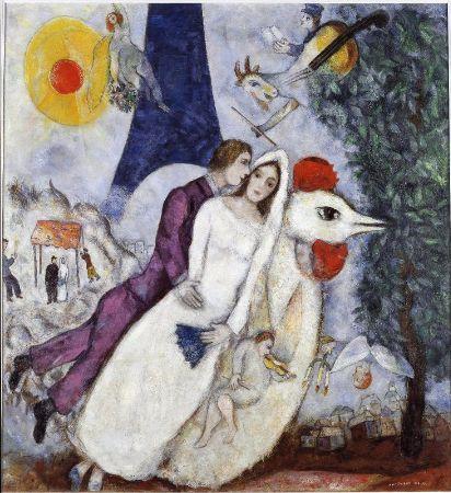 Marc Chagall, Les Maries de la Tour Eiffel, 1938-39