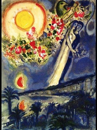 Marc Chagall, Lovers in The Sky of Nice, 1964