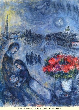 Marc Chagall, Newlyweds With Paris in The Background, 1980
